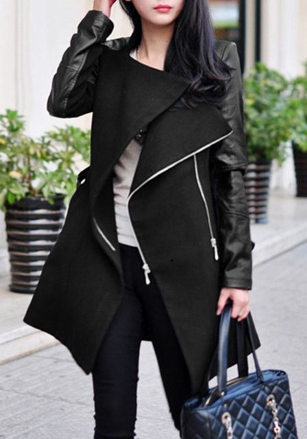 Do it in style with this black sleeve coat!