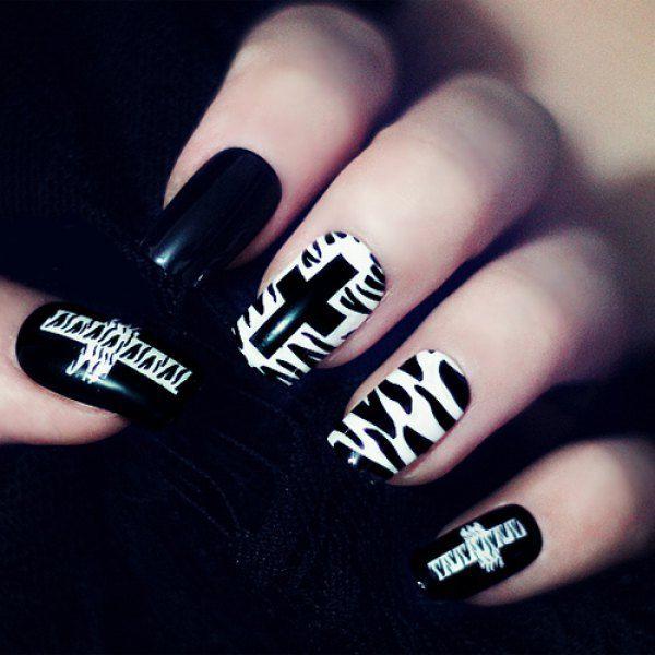 24 PCS Punk Style Cross Pattern Nail Art Fake Finger Nails | Pattern ...