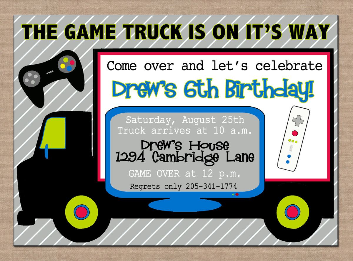 12 Personalized and Printed Boy Video Game Truck RV Bus Arcade