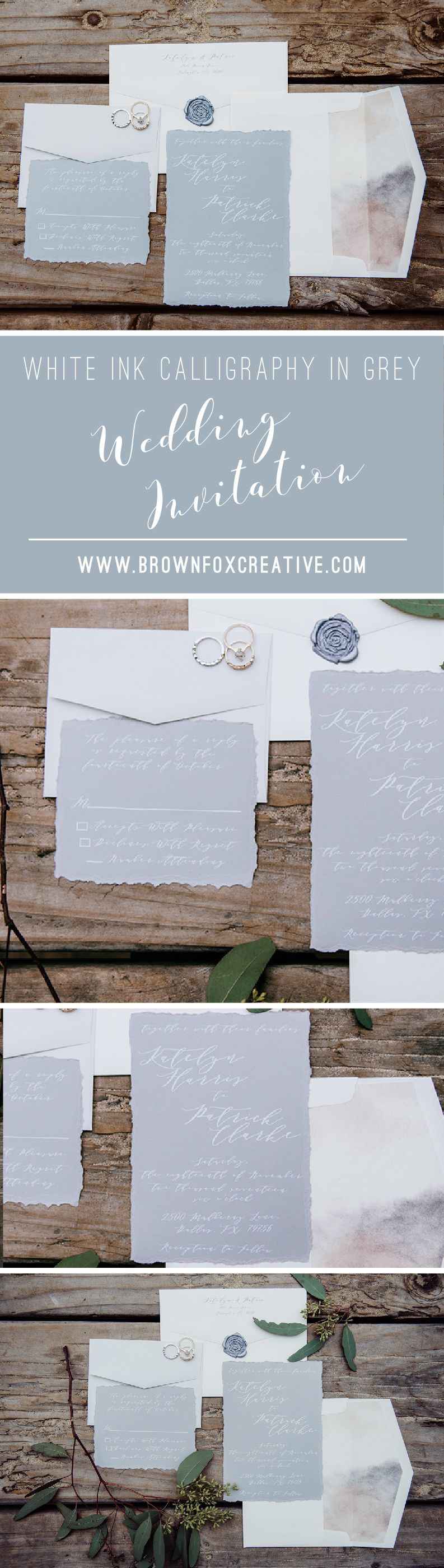fun modern wedding invitations%0A White Ink Calligraphy Natural Modern Wedding Invitation in Grey and Ivory  u      Envelope Liner  RSVP