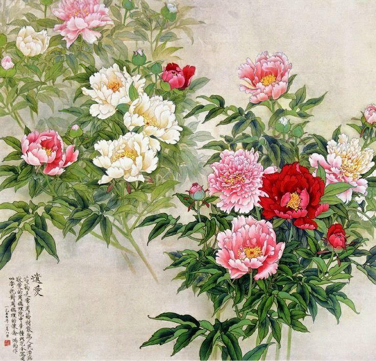 Jin Hongjun, 1937 Traditional Chinese painter Flower