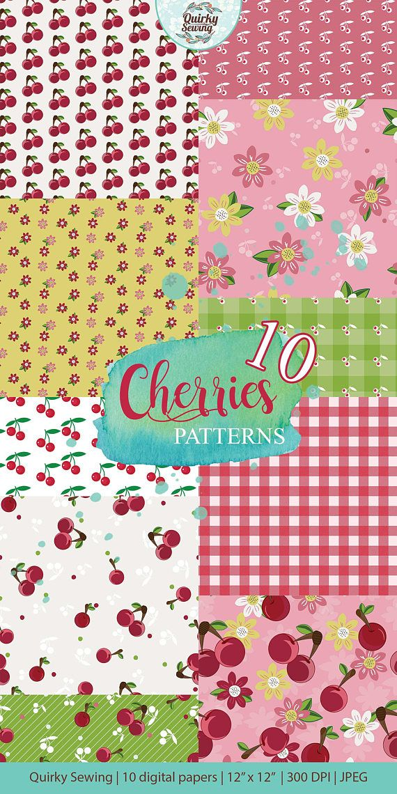 Cherry Digital Paper Cherries Vintage Fruit Pattern Texture
