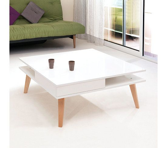 Tables Basses Table Basse Scandinave Monica Blanc Table Basse
