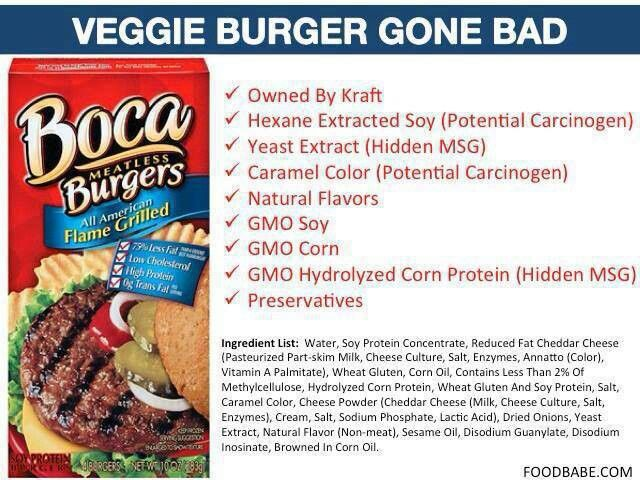 Stay Away From Boca Gmo With Images Veggie Burger Food
