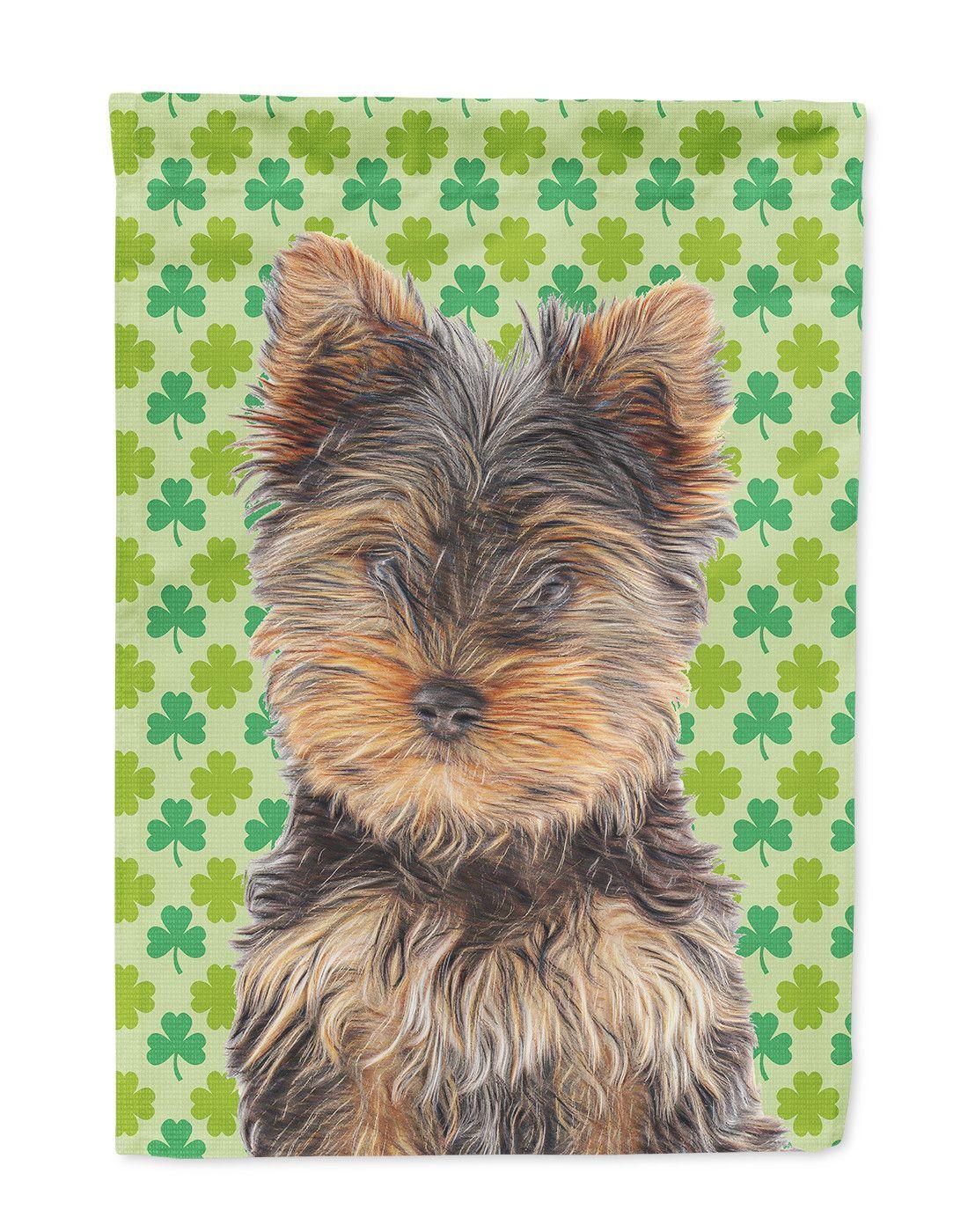 St. Patricku0027s Day Shamrock Yorkie Puppy / Yorkshire Terrier Flag Garden  Size KJ1202GF