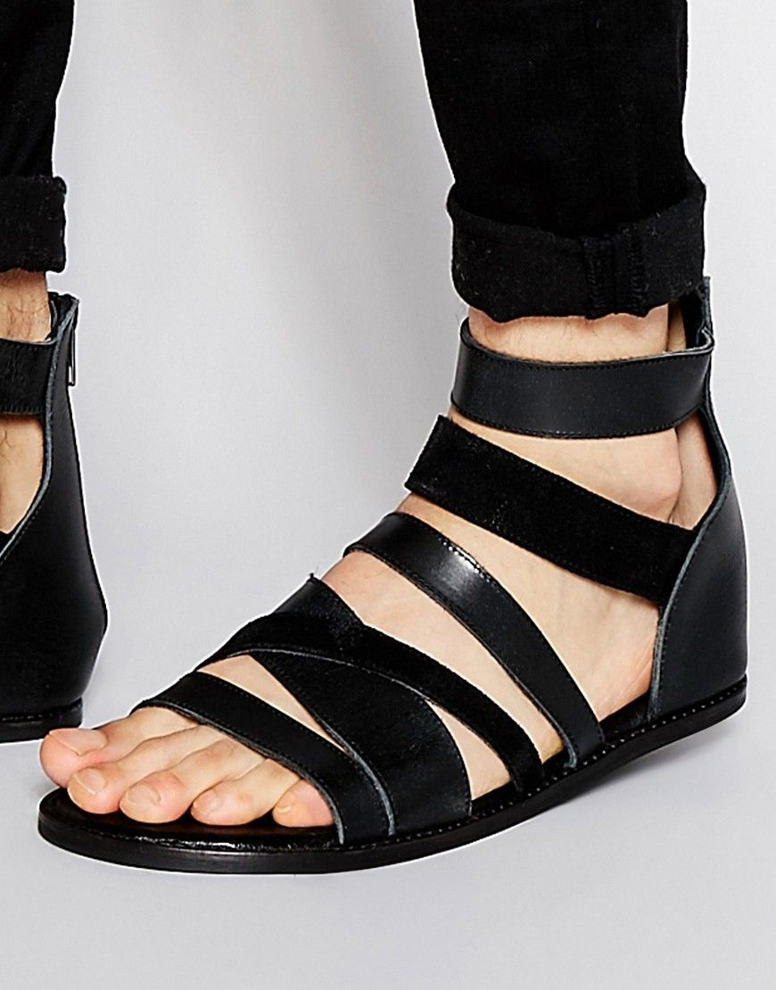 Buy Men Shoes / Asos Gladiator Sandals In Black Leather With Buckle