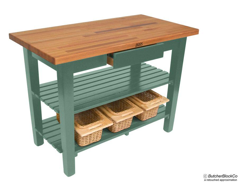 boos oak country table u2013 blended grain butcher block top 2 drawers