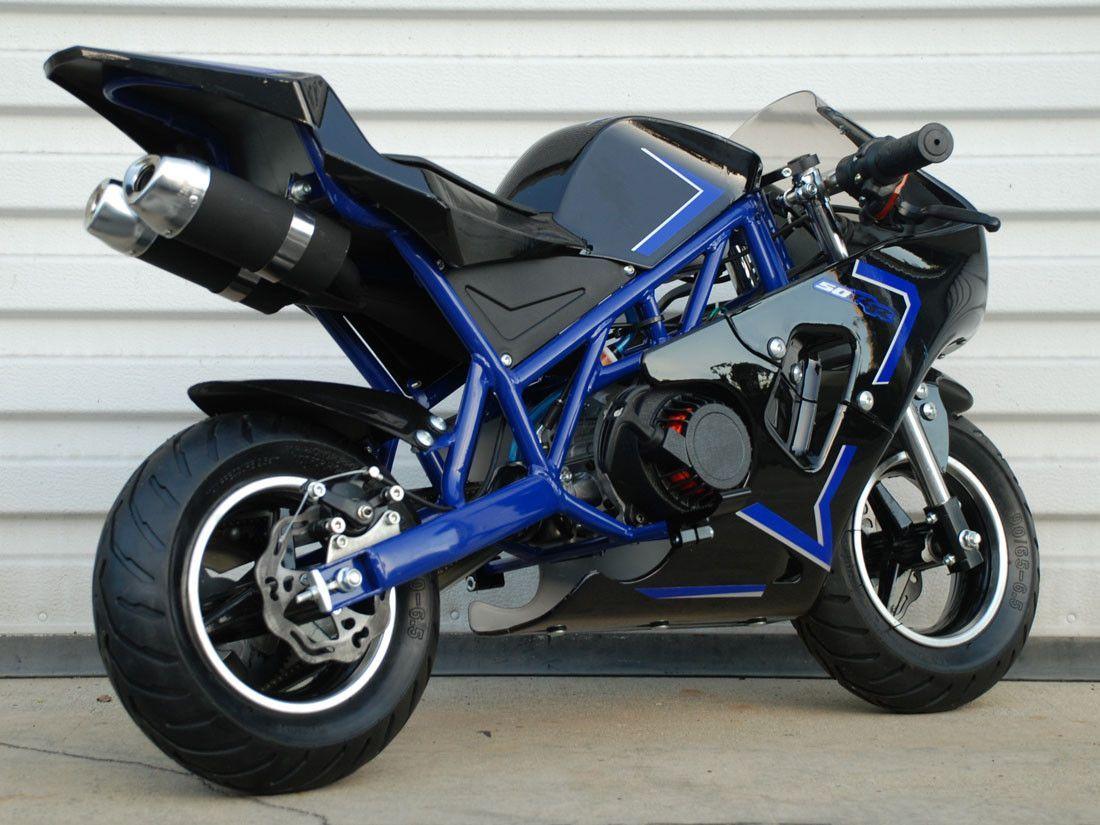 47cc 2Stroke Pocket Bike Blue Pocket bike, Sports