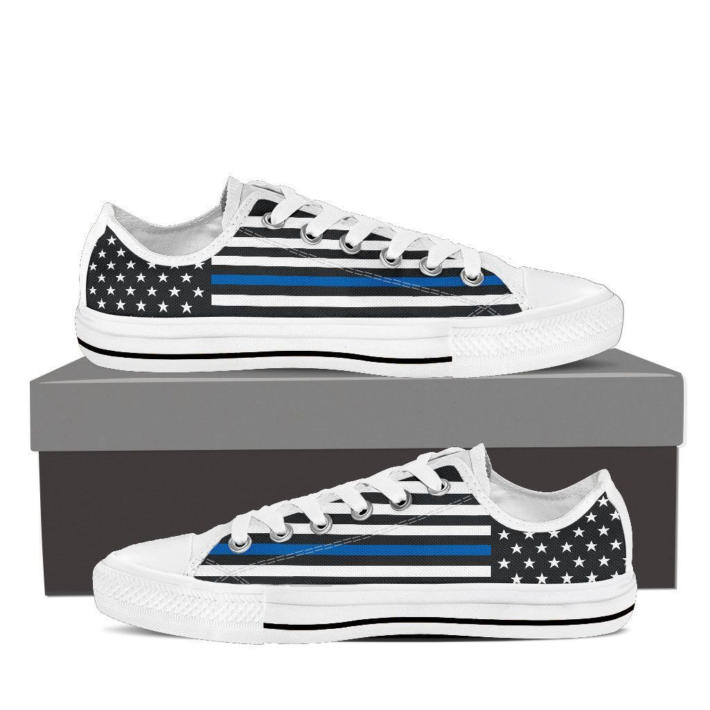 Police Thin Blue Line Flag Low Top Canvas Shoes Canvas  Canvas