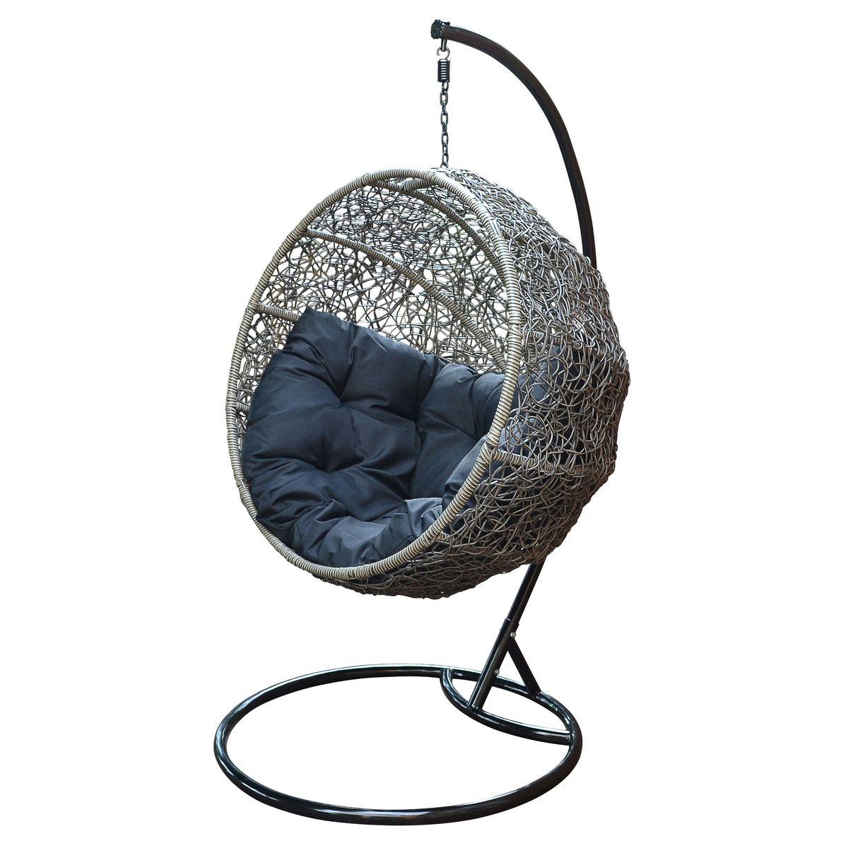 round back wicker chair | NEW Grey Round Hanging Wicker ...