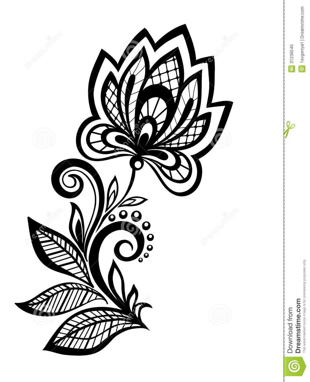 Six Black Flower Design Stock Images: Black And White Floral Pattern Design Element. Stock Photo