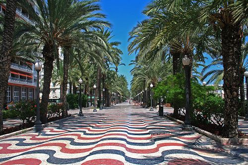 Redoing your driveway?  Need ideas?  Feeling patriotic?  This is a street in Alicante, Spain.  #JetsetterCurator