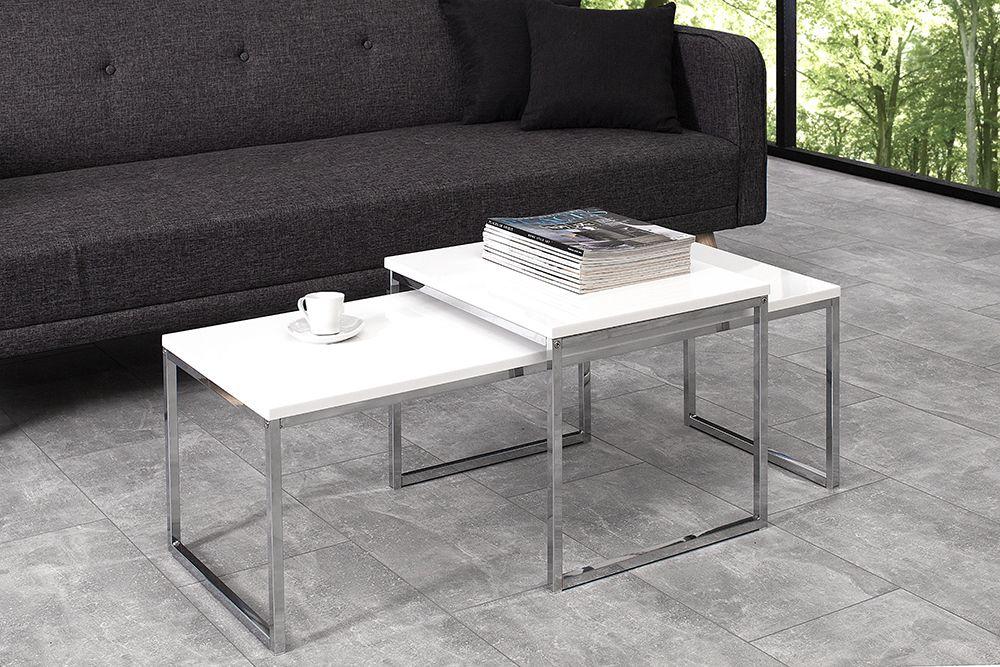 2er Set Design Couchtisch Elements 100cm Weiss Hochglanz Chrom In