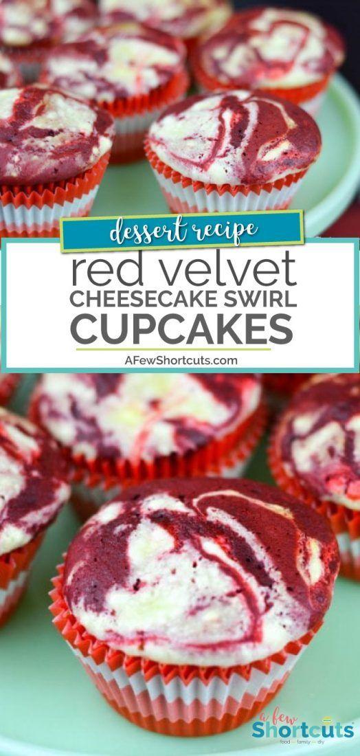 Red Velvet Cheesecake Swirl Cupcakes #redvelvetcheesecake