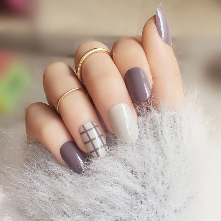 24PCS full Nail tips finished false nail,Taro stripes Small round ...