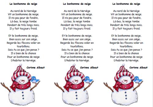 Poeme Le Bonhomme De Neige French Poems Literacy Poems