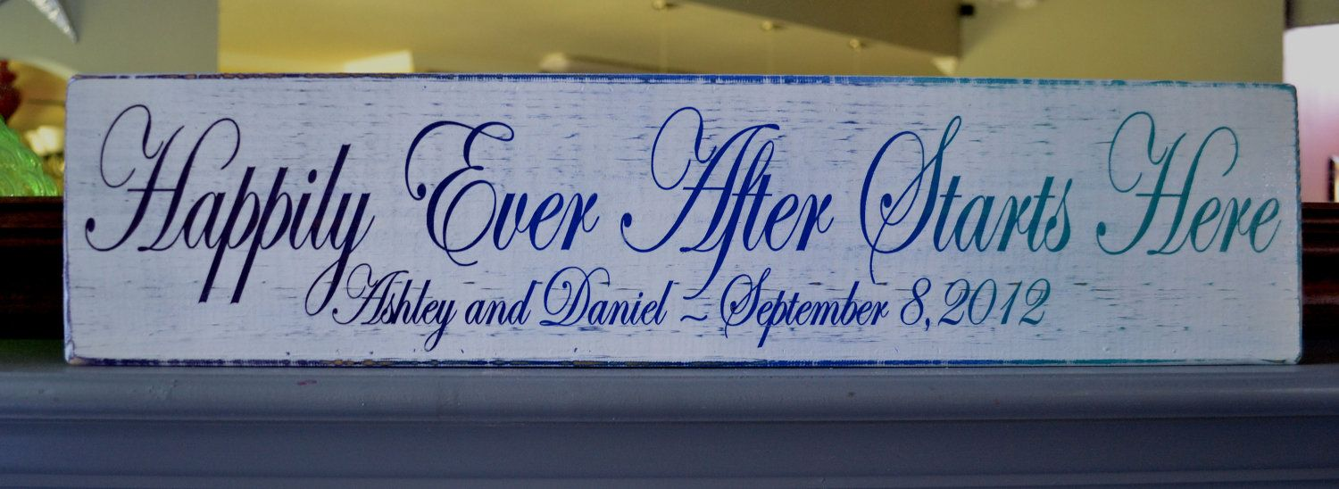 happily ever after starts here   Happily Ever After Starts Here, Custom Wood Wedding Sign, Wedding Gift ...