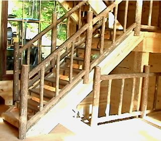 This log staircase is constructed with hand peeled pine ...