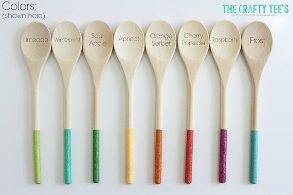 Glitter Dipped 12 Wooden Spoon  Favors  by TheCraftyTees on Etsy