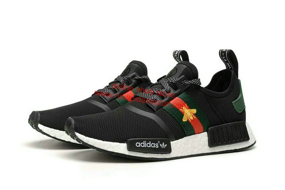 new styles 85949 e6df9 2018 Real Adidas NMD R1 Gucci Black Shoe