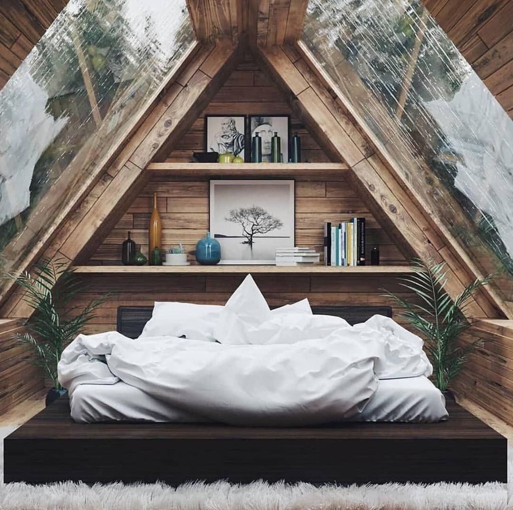 30 Stunning Small Attic Bedroom Design Ideas A Frame House