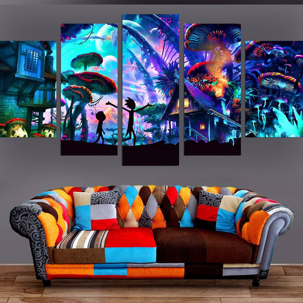5 Panels Canvas Painting Shroom World Rick And Morty Wall Art Painting Unbranded Artdeco Canvas Art Wall Decor Wall Canvas Customized Canvas Art