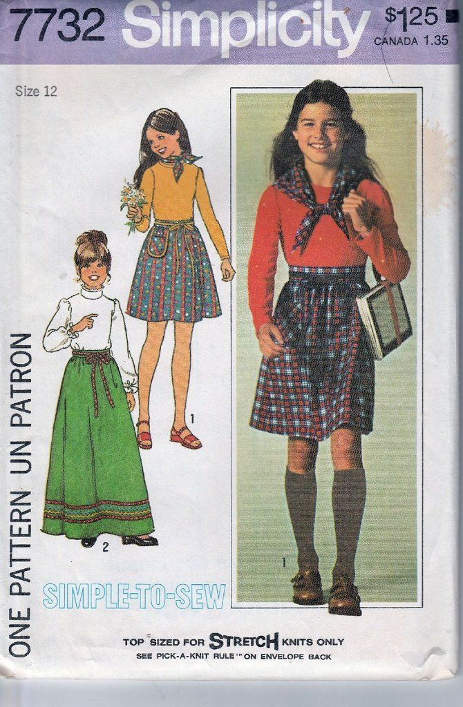 Simplicity 7732 Vintage 1970\'s Sewing Pattern Girls Long Above Knee ...