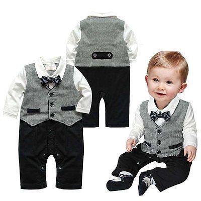 NEW Toddler Boys Dress Gentleman Romper Jumpsuit Bodysuit Kids Clothes Outfit