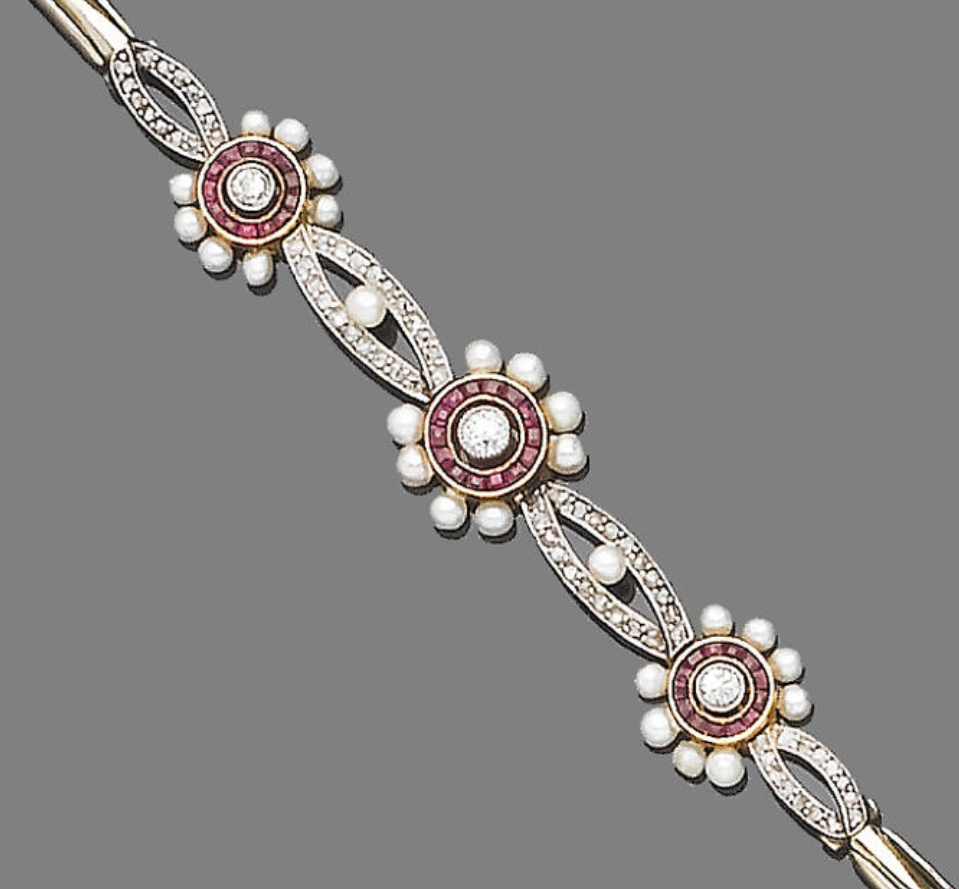 A Ruby, Diamond And Seed Pearl Bracelet The Front Designed As Three Old  Brilliant
