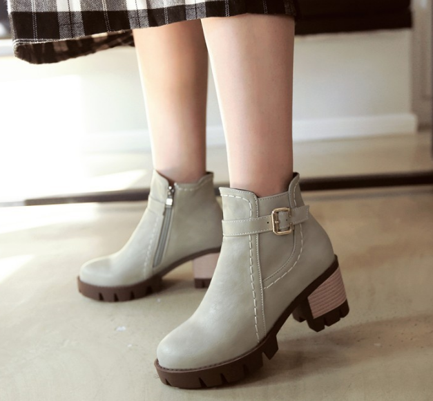 9c830115e08 Ankle Boots for Women Thick Heels Belt Buckle Pu Leather Autumn ...