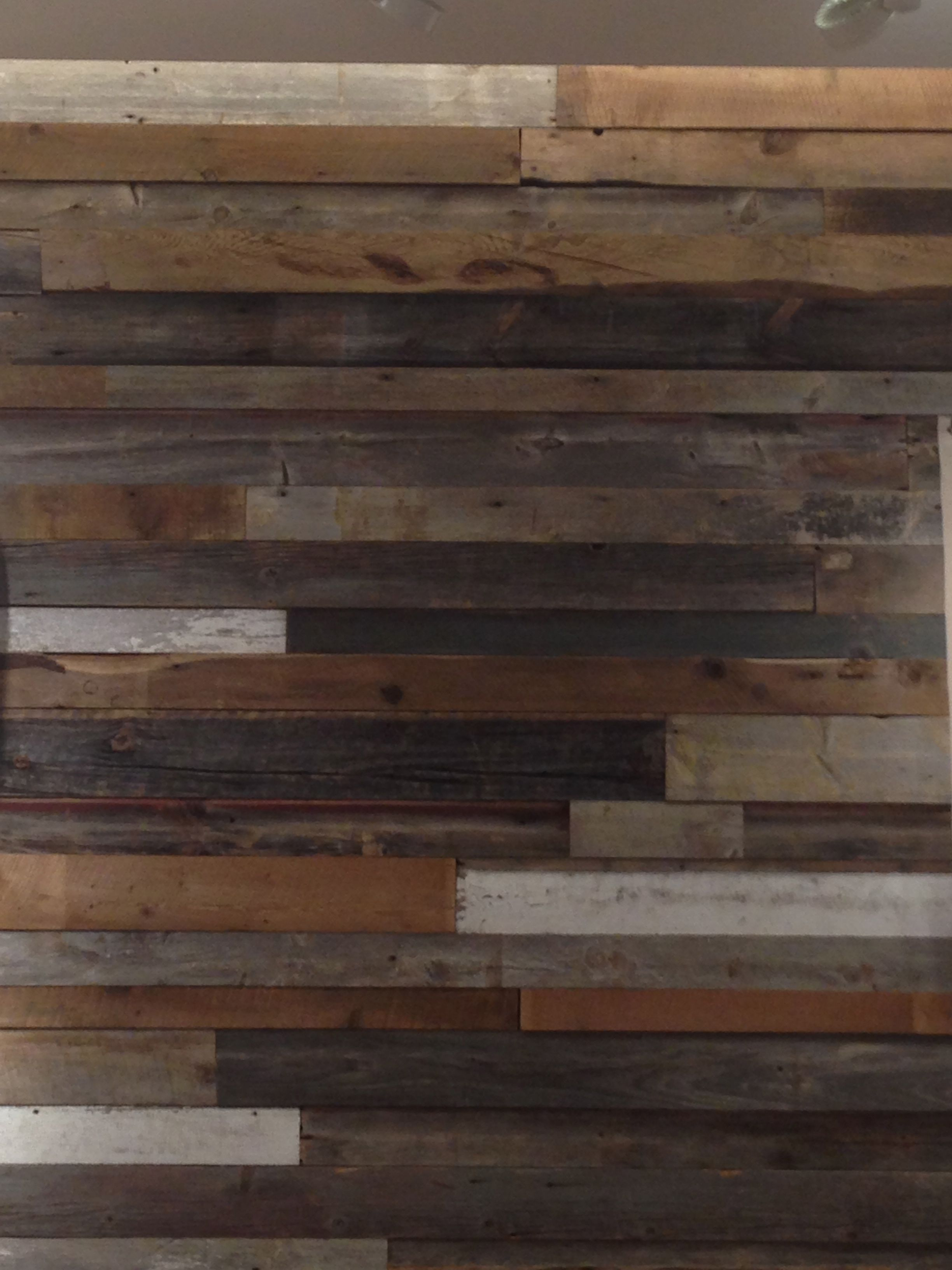 Distressed Wood Wall Multi Colored