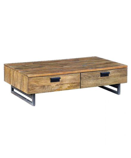 Modern Low Mango Wood Coffee Table with Storage Drawers detail