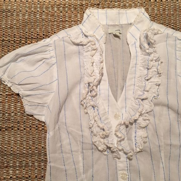 Anthropologie white ruffled button-up Feminine blouse w/ ruffled collar. Blue sewn stripes. A few areas of pulled blue thread which would just need to be pushed to the underside, no breakage in threads (see last pic). Light weight. 97% cotton / 3% rayon. Cute work / summer shirt! Anthropologie Tops Button Down Shirts