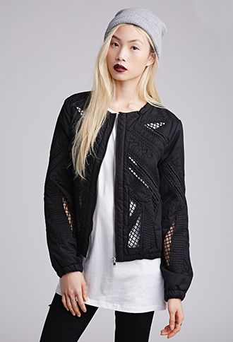 Embroidered Cutout Bomber Jacket | FOREVER21 | #thelatest