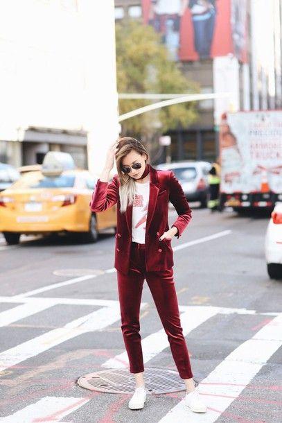 d3087327036 Jacket  velvet pants tumblr blazer burgundy velvet velvet blazer pants  burgundy pants cropped pants