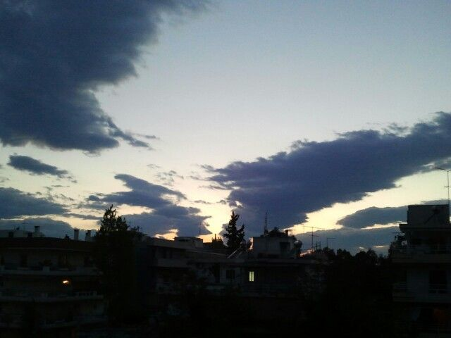 Sunset in Athens. Beautiful blue.