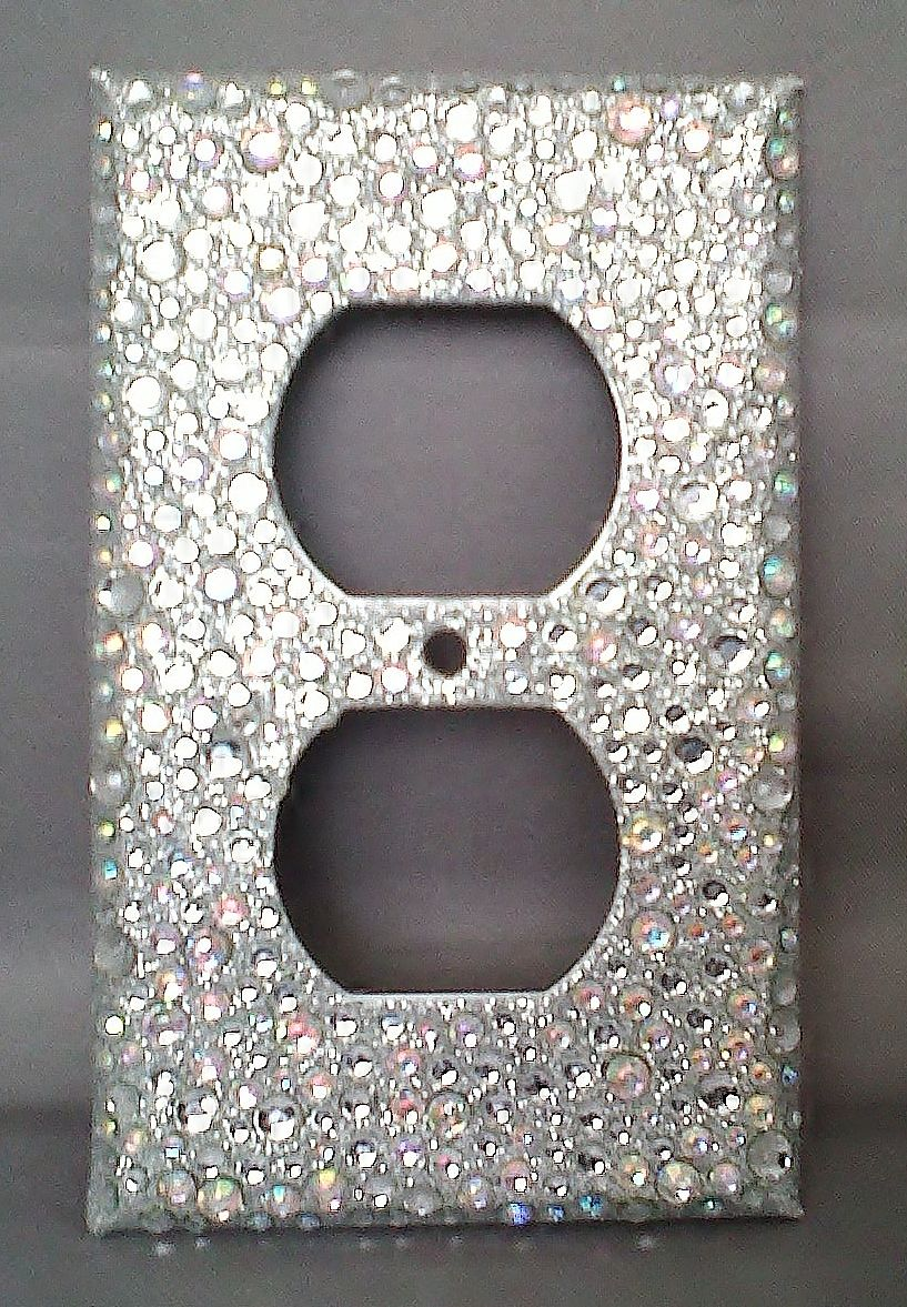 Silver Light Switch Covers Bling Silver Glitter Rhinestone Outlet Cover2 Horizontal Toggle