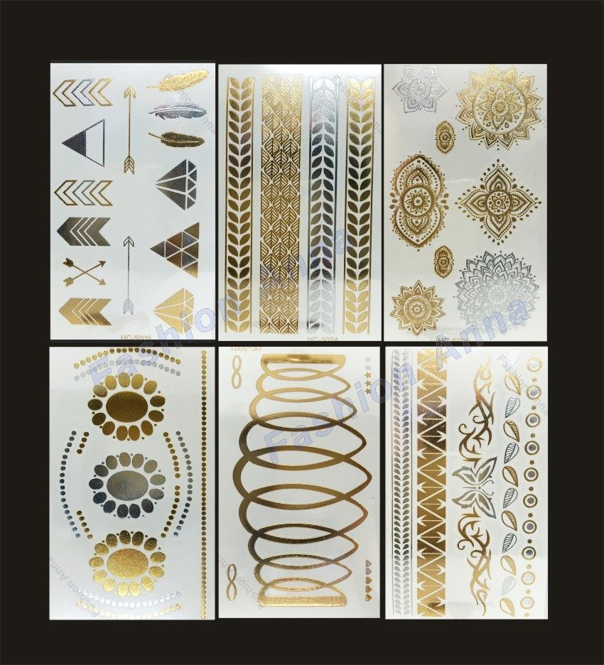 Sheetslot new waterproof flash metallic temporary tattoo gold