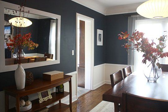 Dark blue dining room