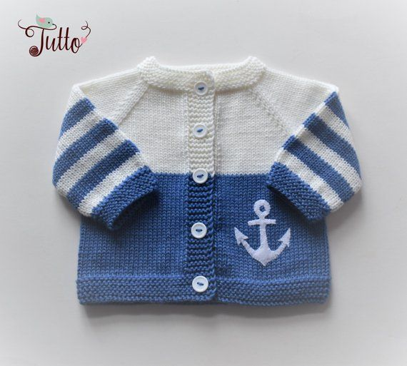 942b3648f17 Ready to ship Size 0-3 Months Baby boy sweater anchor sweater wool cardigan  knitted sweater merino