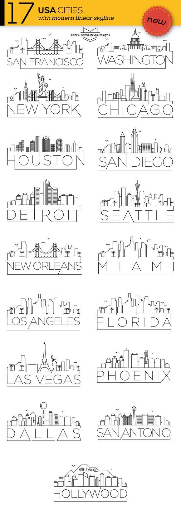 Dallas Skyline Tattoo Designs : dallas, skyline, tattoo, designs, Linear, Skylines, Lettering,, Sketch, Book,, Travel, Journal