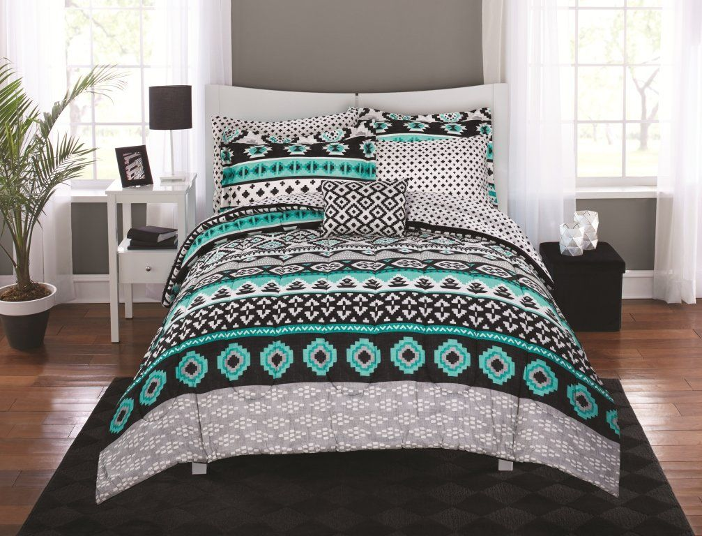 N2 6 Piece Grey Bright Teal Aztec Comforter Twin Twin Xl Set Black Gray White Tones Southwest Bedding Geometric Tribal M Bed In A Bag Bedding Set Black Bed Set