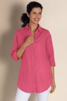 Outer Banks Shirt I - Womens Loose Fit Linen Shirt, Soft Washed Linen Shirt | Soft Surroundings