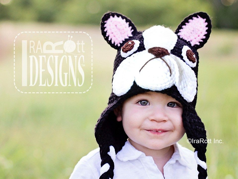 French Bulldog or Boston Terrier Puppy Dog Animal Hat Crochet Pattern for boys and girls of all ages by IraRott