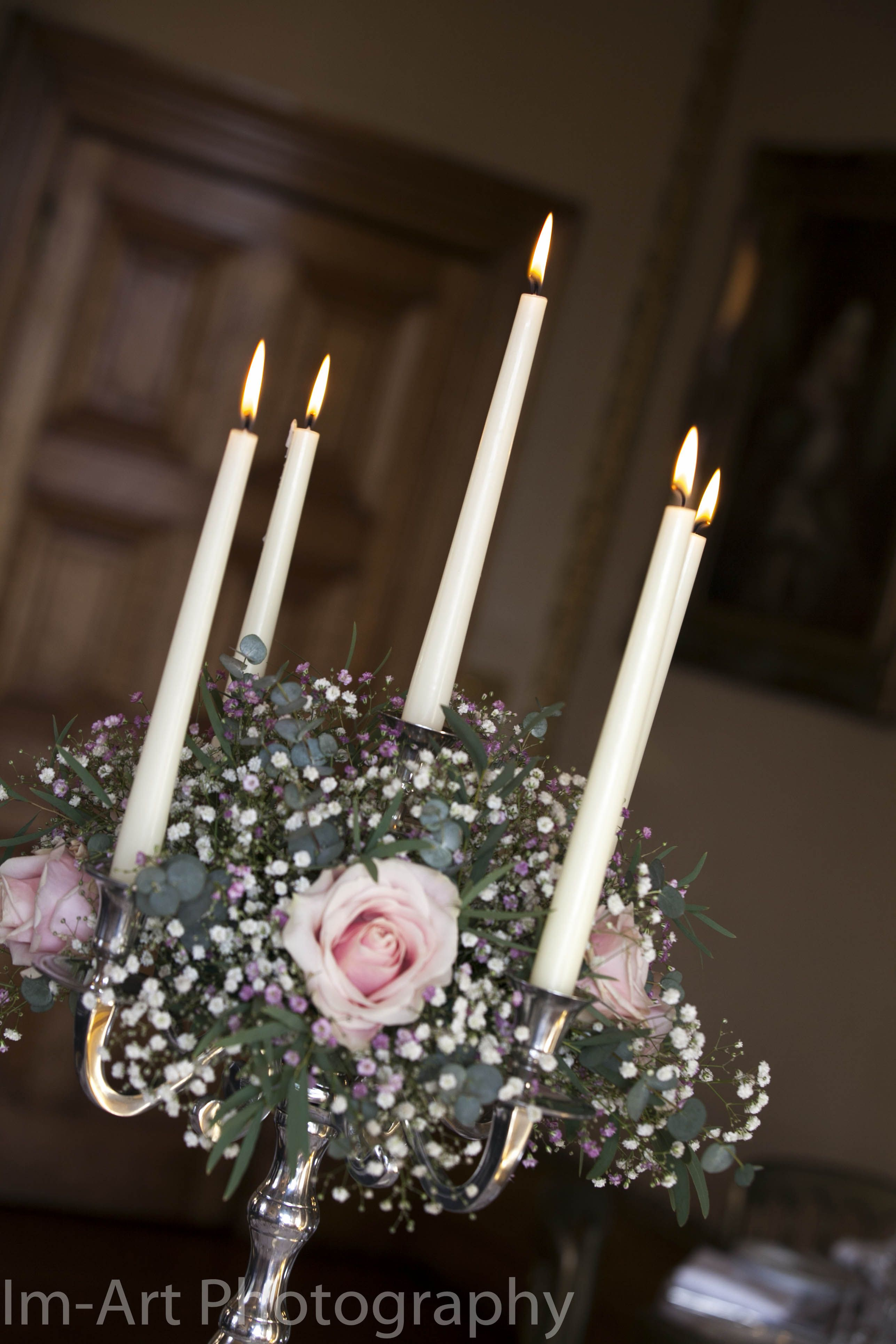 Candelabra Orchardleigh. Roses With Pink & White Baby'