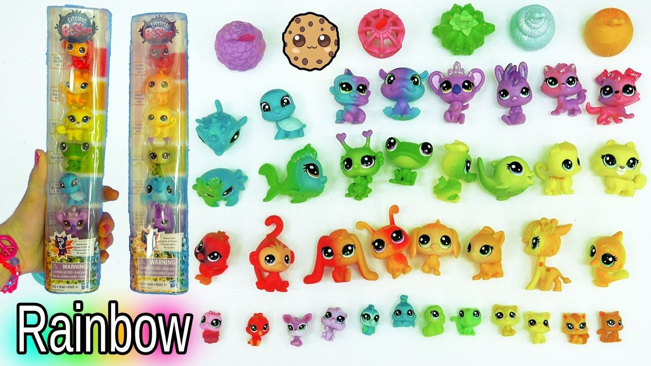 lps rainbow glitter animal haul with colorful babies and surprise little