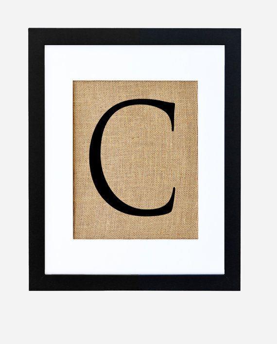Letter C monogram alphabet burlap wall decor by fiberandwater ...