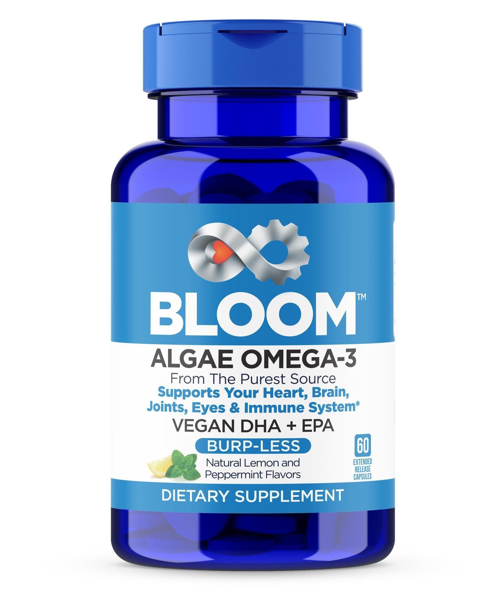Bloom A Vegan Omega 3 Burpless Algae Dha Epa Supplement Better Than Fish Oil Supports Heart Brain Joint Prenata Fish Oils Supplements Supplements Fish Oil