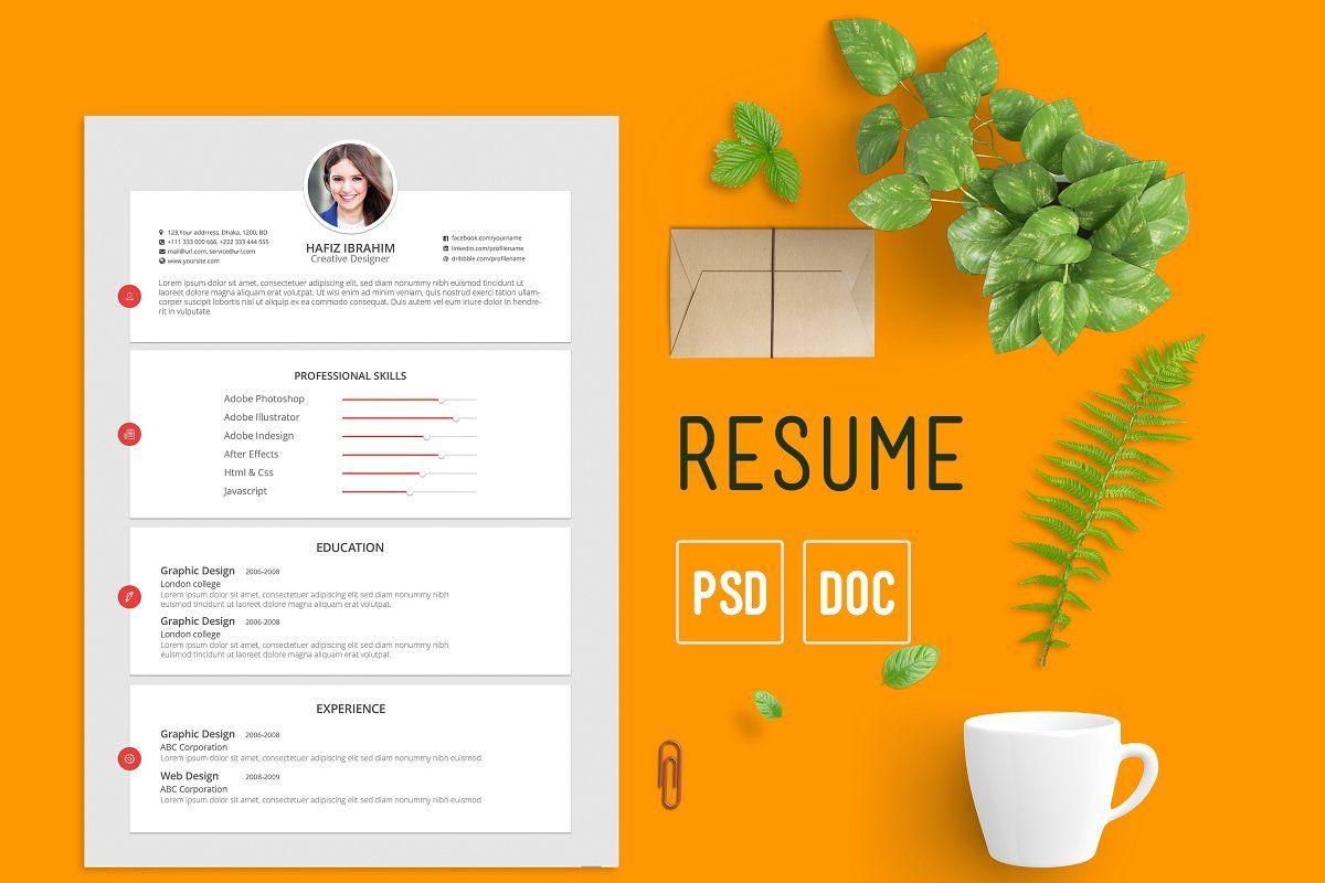 Flat calendar creative resume templates resume