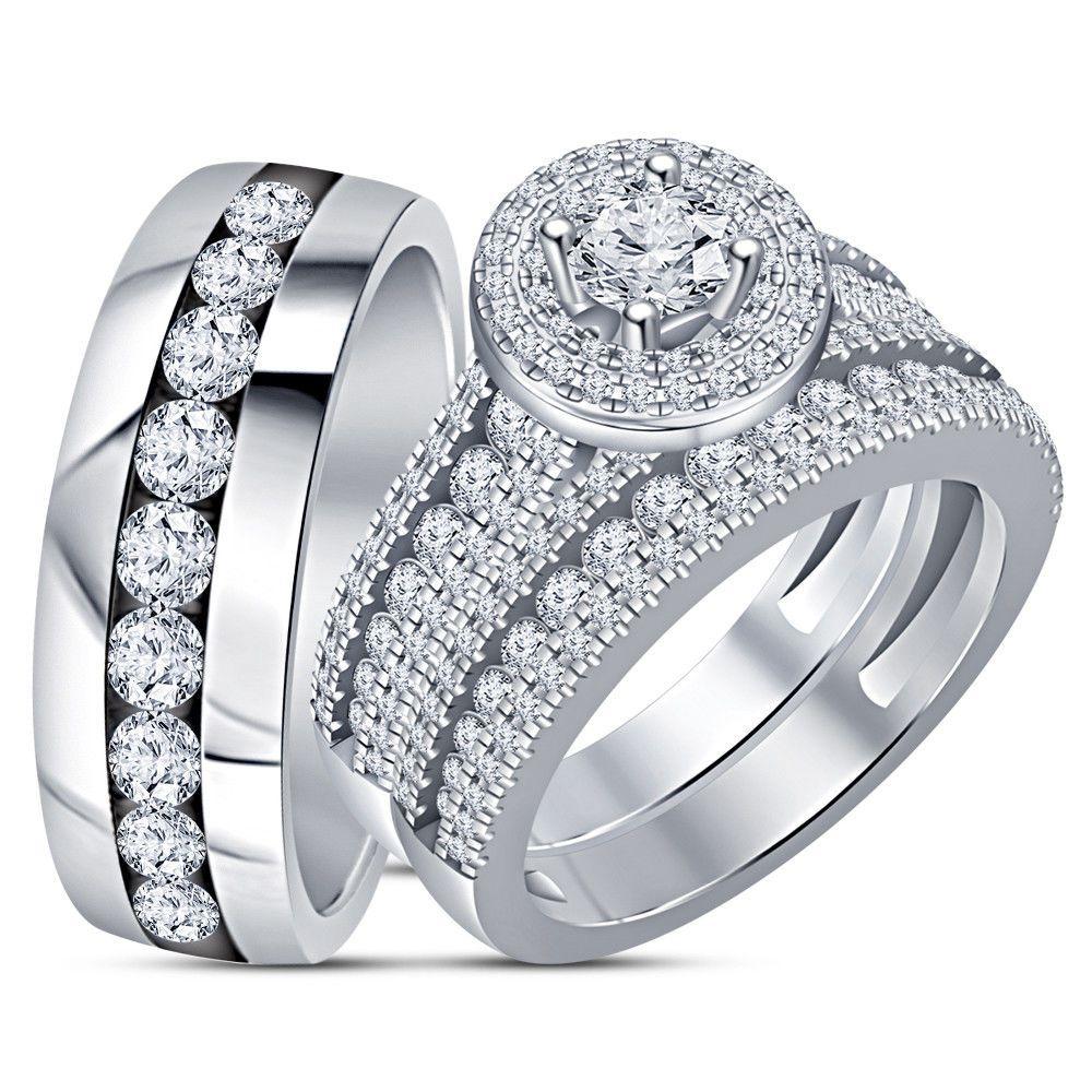 14k Solid White Gold Over 2.75CT Round Diamond Trio Ring